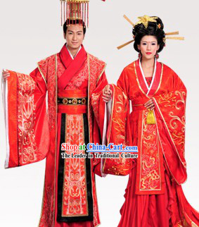Ancient Chinese Emperor and Empress Palace Wedding Dresses Two Sets