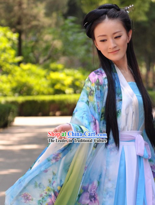 Ancient Chinese Hanfu Style Flowery Clothes for Women