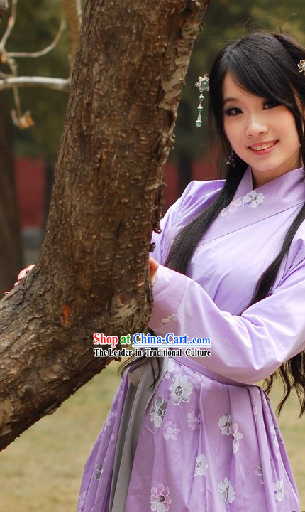 Ancient Chinese Hanfu Style Purple Clothing for Girls