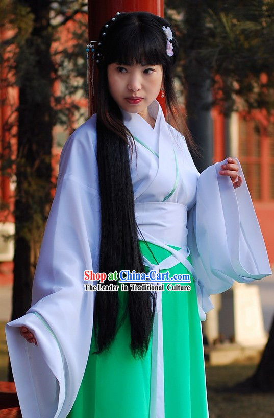 Ancient Chinese Han Fu Color Transition Clothing for Lady