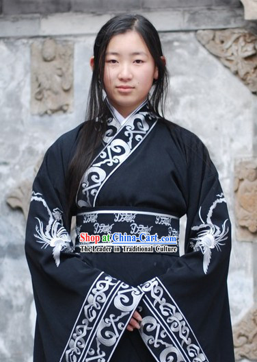 Ancient Chinese Black Empress Phoenix Clothing for Lady