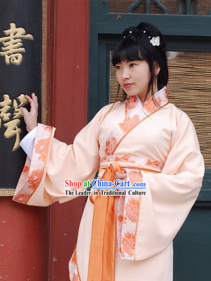 Ancient Chinese Orange Embroidered Princess Clothing