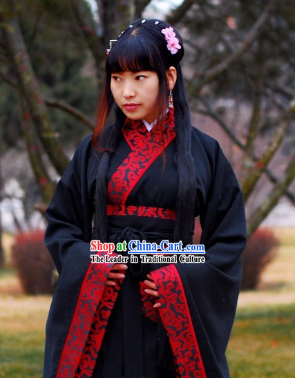 Ancient Chinese Empress Black Clothing with Embroidered Red Trim