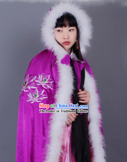 Ancient Chinese Purple Embroidered Lotus Princess Cape