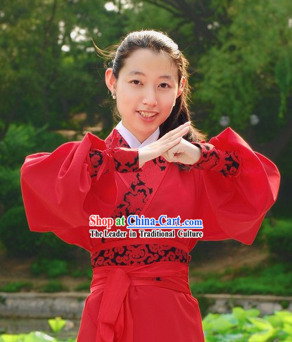 Han Dynasty Red Kung Fu Clothing for Women