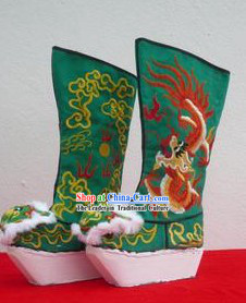 Traditional Chinese Green Embroidered Dragon High Heel Boots