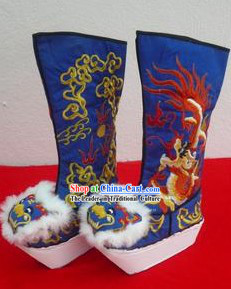 Traditional Chinese Blue Embroidered Dragon High Sole Boots