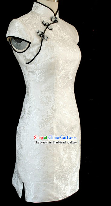 Supreme White Phoenix Pattern Short White Cheongsam for Women