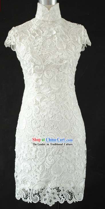 Chinese Cheongsam Style Wedding Dress and Veil for Brides