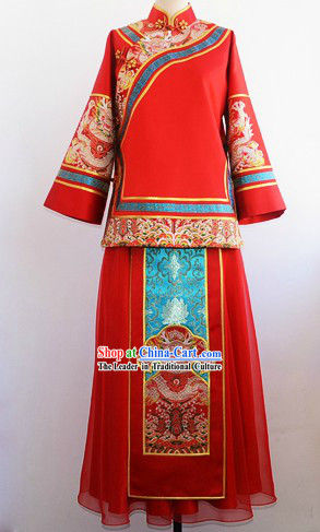 Traditional Chinese Lucky Red Dragon Wedding Suit for Lady