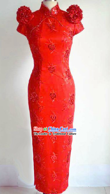 Chinese Classic Red Wedding Cheongsam for Brides
