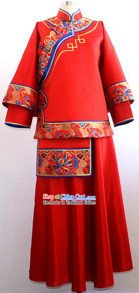 Chinese Classic Red Wedding Tang Suit for Brides