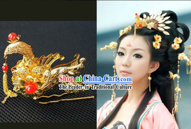 Ancient Chinese Hanfu Style Handmade Phoenix Hair Accessories Set for Brides