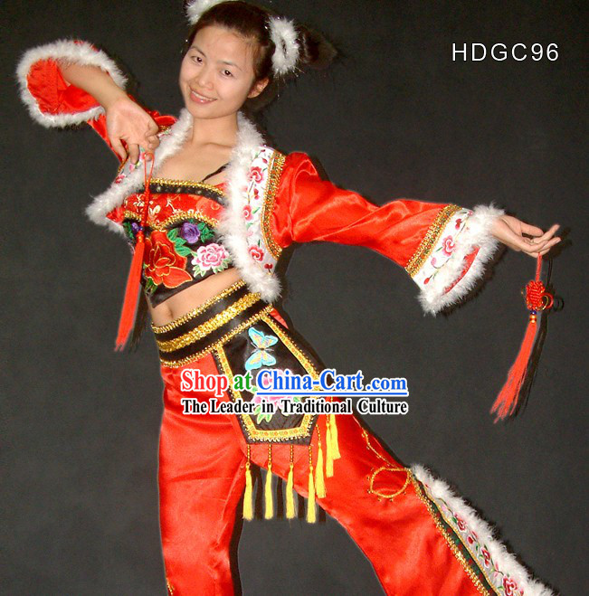 Flying Snowflakes Chinese New Year Yangge and Fan Dance Costume