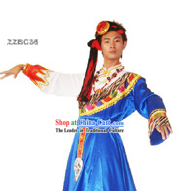 Traditional Chinese Tibetan Dance Costumes and Head Pieces for Men