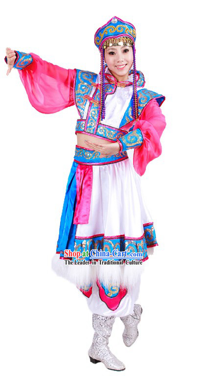 Traditional Chinese Mongolian Dance Costumes and Hat for Women