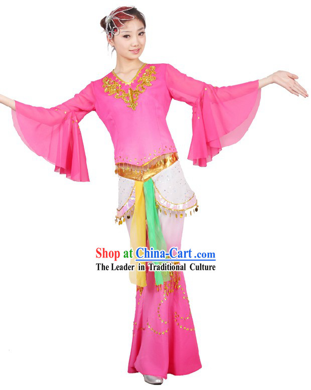Chinese Classical Fan Dancing Costumes and Head Piece for Women