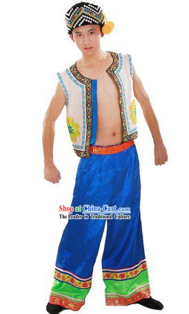 Chinese Classical Zhuang Ethnic Clothing and Hat for Men