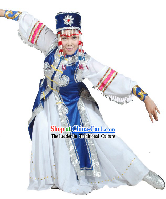 Traditional Chinese Mongolian Dancing Costume and Hat for Women