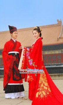 Ancient Chinese Golden Phoenix Hanfu Wedding Dresses Two Complete Sets for Men and Women