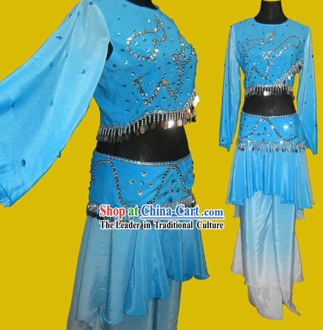 Classic Blue Folk Solo Dancing Costumes for Women