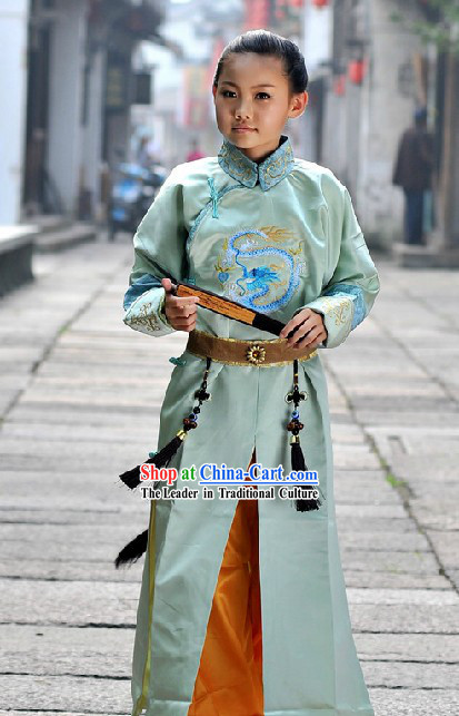 Ancient Chinese Embroidered Dragon Prince Costume for Boys