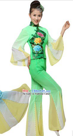 Chinese Fan Dance Costumes and Headpiece