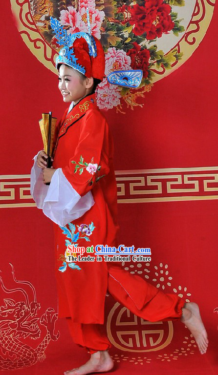 Ancient Chinese Bridegroom Wedding Dress and Crown for Children