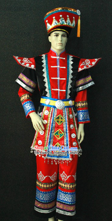 Traditional Chinese Miao Minority Clothing for Men