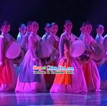 Traditional Chinese Korean Ethnic Drum Dance Costumes for Women