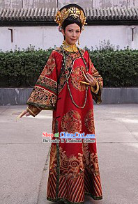 Qing Dynasty Imperial Palace Empress Clothing Complete Set for Women