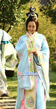 Ancient Chinese Embroidered Flower Princess Clothes for Women