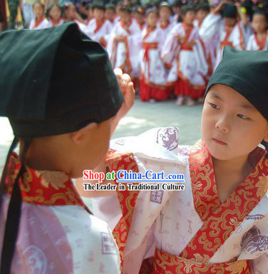 Ancient Chinese School Student Costumes Three Pieces Set for Kids