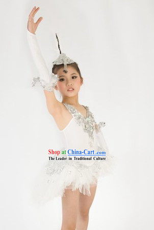 Traditional Chinese White Ballet Dance Costumes and Headwear for Kids