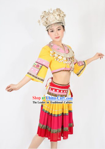 Traditional Chinese Miao Skirt with Accordion Pleats and Hat for Women