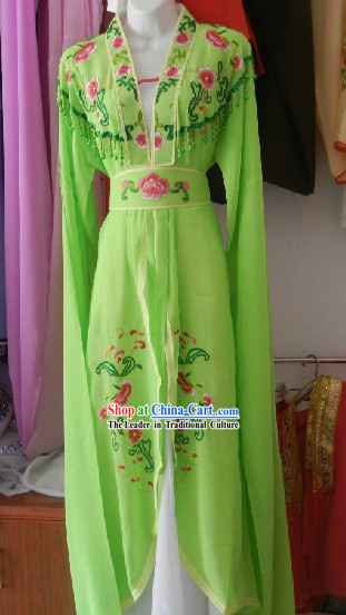 Chinese Opera Stage Performance Green Embroidered Costumes and Skirt for Women