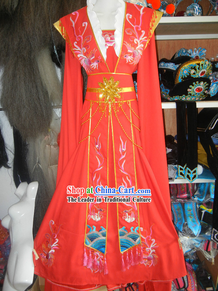 Red Chinese Opera Embroidered Phoenix Costumes