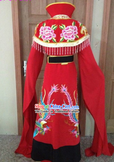 Red Chinese Opera Embroidered Phoenix Empress Costumes Complete Set