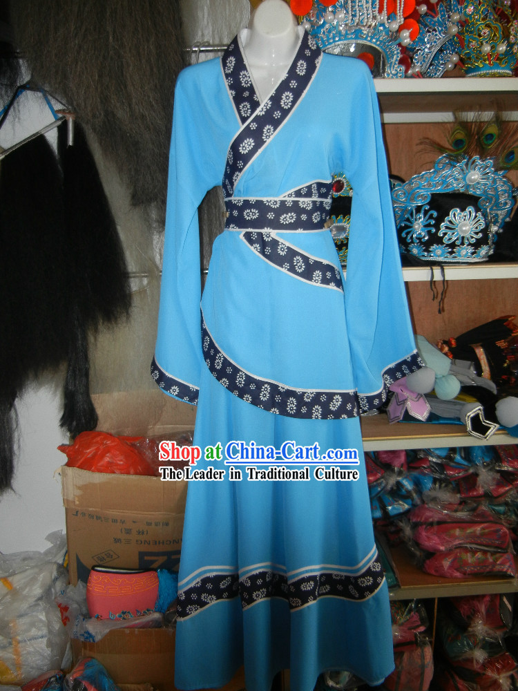 Blue Ancient Chinese Village Girl Costumes