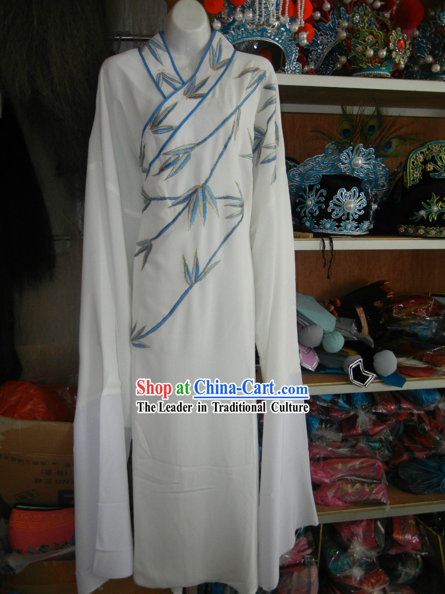 Ancient Chinese Huangmei Opera Embroidered Bamboo Robe for Men