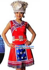 Traditional Chinese Hmong Minority Miao Outfit and Hat for Women