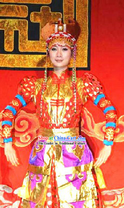 Ancient Chinese Mongolian Princess Costumes and Hat