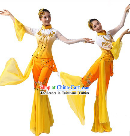 Chinese Stage Performance Ribbon Handkerchief and Fan Dance Costumes and Headwear for Women