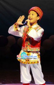 Traditional Chinese Haozhe Minority Dance Costumes and Hat for Kids
