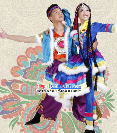 Traditional Tibetan Dress and Headwear Two Sets for Men and Women