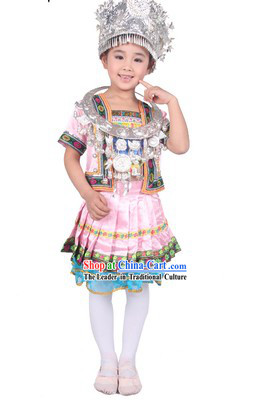 Pink Chinese Miao Ethnic Group Clothes and Hat for Kids