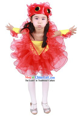 Chinese Traditional Goldfish Dance Costume and Headwear for Kids