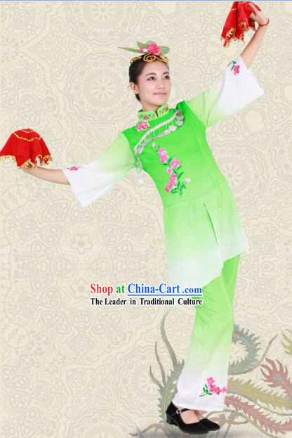 Embroidered Flower Classical Dance Outfit for Women