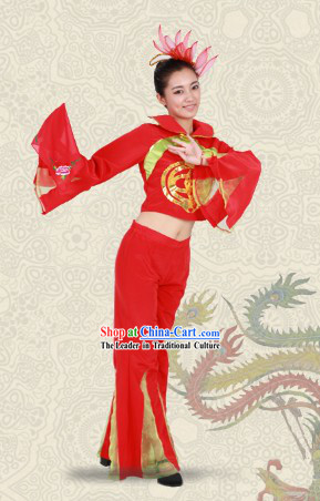 Red Stage Performance Handkerchief Dance Costumes for Women