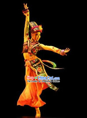 Traditional Chinese Ethnic Sole Dance Costumes and Headpieces for Women